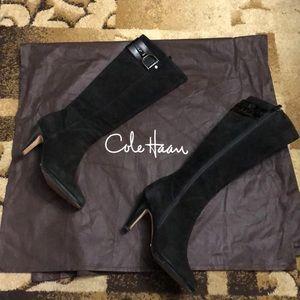 Cole Haan Sierra air.tall black suede boots 8.5 B